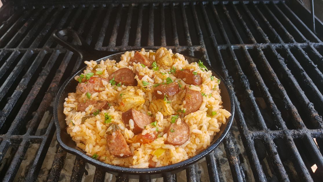 Andouille sausage and chicken in a seasoned sauce and cooked rice.  Served with a side of corn bread.