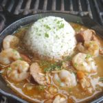 The perfect roux creates this authentic Southern Louisiana stew made with shrimp, andouille sausage, and chicken